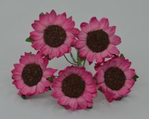 3 cm 2 tone PINK CHRYSANTHEMUM DAISY Mulberry Paper Flowers miniature card wedding